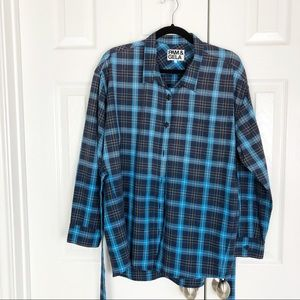 Pam & Gela Tops - New Pam & Gela Tie Back Plaid Button Down Top